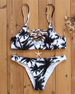 Hawaiian Print Palm Tree Bikini