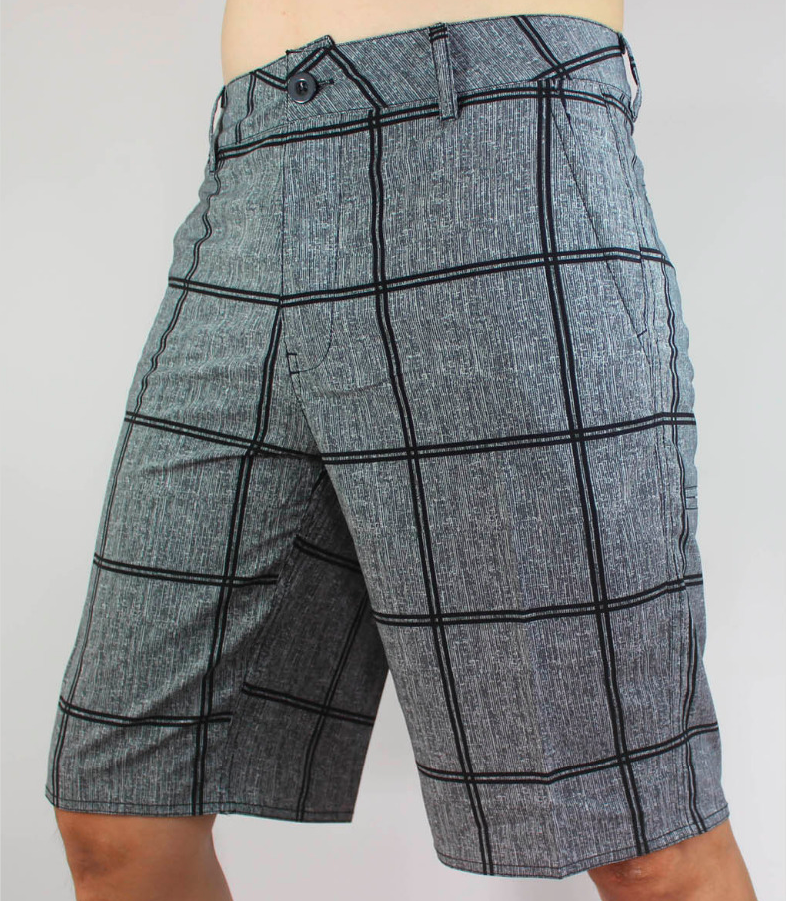 grey plaid mens board shorts