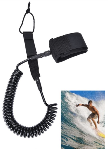 sup 10ft black surfboard leash